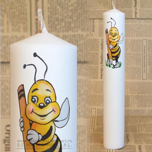 Lumanare personalizate cilindrica cununie Ø55 L30 preţ/2 buc - albina