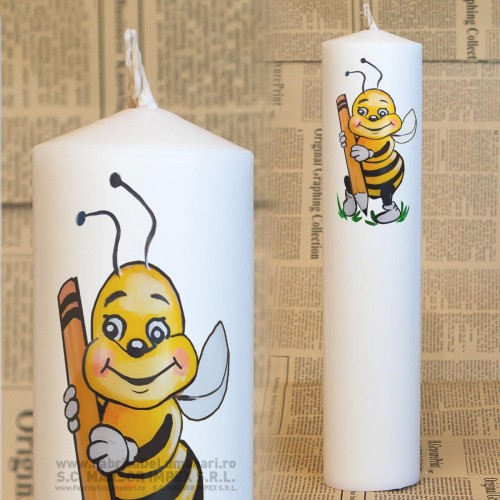 Lumanare cilindrica cununie Ø70 L60 preţ/2 buc - albina